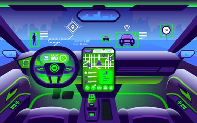 Autonomous smart car interior. Self driving at city landscape.