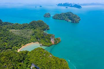 Aerial view of the beautiful tropical island of Koh Yao Noi in Thailand