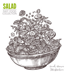Hand drawn sketch of fresh salad with vegetable. Healthy food dish, vegetarian mix of salad with greens, cucumber, tomato, sweet peppers, onions and olives. Vector isolated on white background