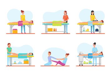 Massage Therapy and Treatment Icons Set Vector