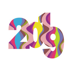 2019, happy new year. Vector creative number