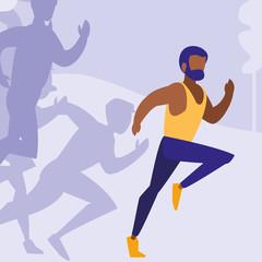 Man in running race design