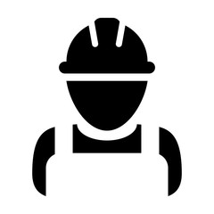 Service worker icon vector male construction service person profile avatar with hardhat helmet in glyph pictogram illustration
