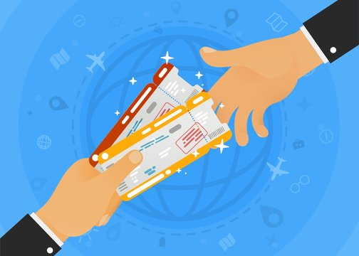Handing two airline tickets with infographic around and globe on blue background. Two flat hands business vector illustration. Booking office for the sale of ticket