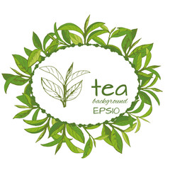 Vector logo of tea, leaves and branches, hand-drawn