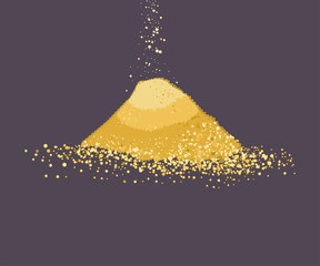 Pile of sand vector cartoon illustration isolated on background.