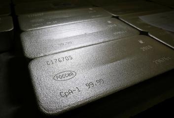 Ingots of 99.99 percent pure silver are seen at the Krastsvetmet non-ferrous metals plant in the Siberian city of Krasnoyarsk
