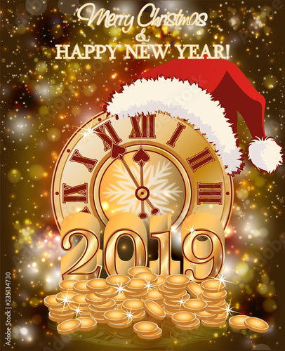 happy new 2019 golden year wallpaper vector illustration