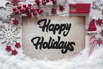 Christmas Decoration, English Calligraphy Happy Holidays, Snow