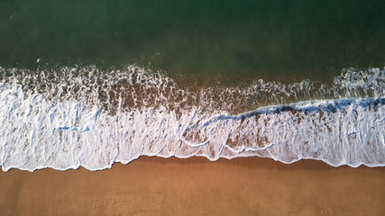Aerial drone picture from Spanish beach in Costa Brava