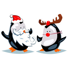 Cartoon penguins dressed as Santa Claus and reindeer with a red nose. Vector Christmas illustration isolated on a white background.