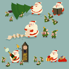 Santa Claus and funny elves cartoon character set. Vector Christmas illustration isolated on background