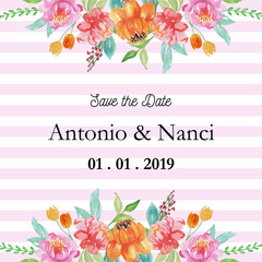 save the date watercolor floral frame