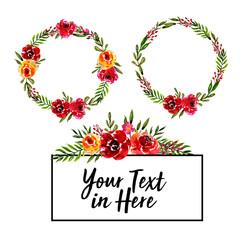 Watercolor wreath floral sweet set elements