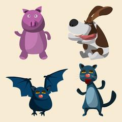 animals set vector illustration