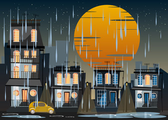 building at night in rainy day vector illustration