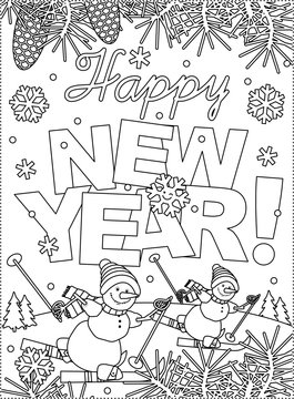 Coloring page with Happy New Year greeting, outdoor winter scene and two sporty skiing snowmen