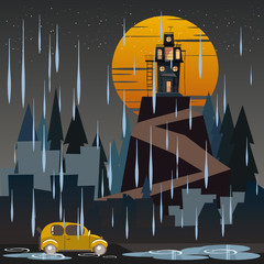 spooky housed in rainy day vector illustration