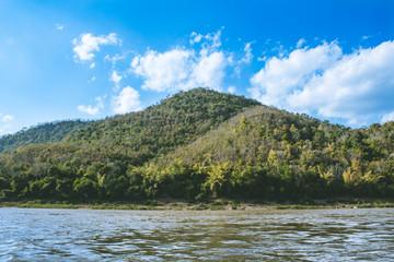 Nam Kahn River view from a cruising boat in Luang Prabang, Laos