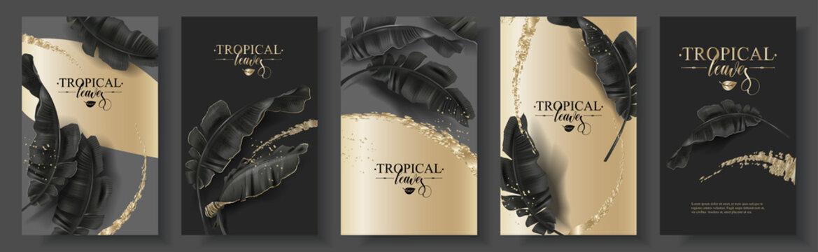 Tropic banana leaf black gold banner set