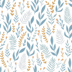 Light blue seamless pattern with  herbs and flowers. Romantic floral background. Fabric design. Vector illustration.
