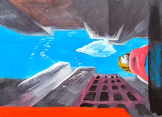 A girl walks along a city street, a top view from the legs of a girl, drawing with acrylic paints on black paper. Skyscrapers of the city against the sky.