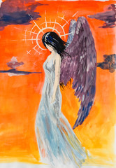 Angel girl with brown wings, in a gray dress and a luminous nimbus