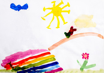 Childrens drawing in watercolor, the bridge over the river, the sun and a flower. Landscape in the picture.