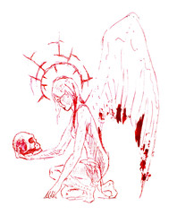 Drawing red ballpoint pen. A woman angel picked up a skull and looked at him with sadness.