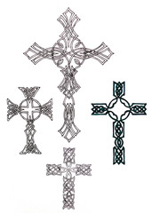 Drawing of a Christian cross in the form of patterns