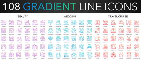 108 trendy gradient color complex thin line icons set of beauty, wedding, travel cruise vector illustration.
