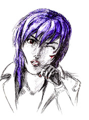 Figure ballpoint pen, emo goth with a scratched face. Nasty anime style.
