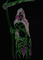 Girl with a scythe of death and the skull of an elf. Beautiful body in tattoos of a girl in a raincoat. Green contour on a black background.