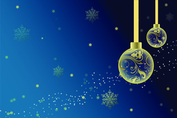 Happy New Year Card with snowflakes,christmas balls and stars . Vector illustration.