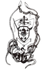 Symbol divers deepwaters. Squid holding an anchor in the tentacles.