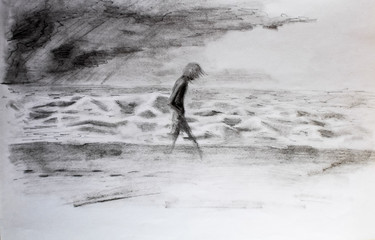 man walks along the sea in storm and bad weather. Pencil drawing