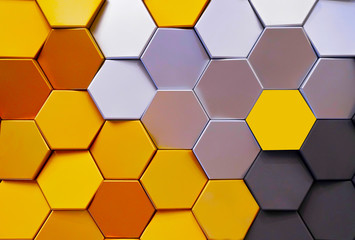Modern technological background in the style of bee honeycombs. 3D rendering