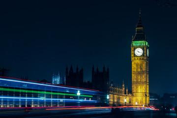 London Big Ben At Night Light Trails
