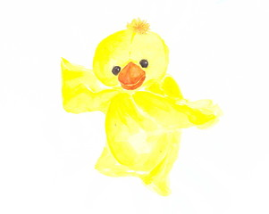 Drawing with watercolors: children's toy yellow duckling.