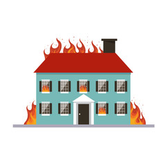 Burning house. Flame in home isolated on white background. Fire insurance template. Accident. Vector stock.