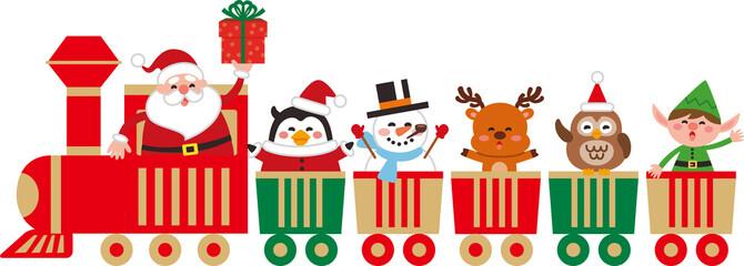 おもちゃの汽車に乗ったかわいいクリスマスのキャラクター。ベクター素材