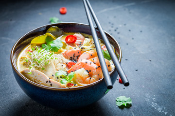 Malaysian Soup with coconut milk and prawn