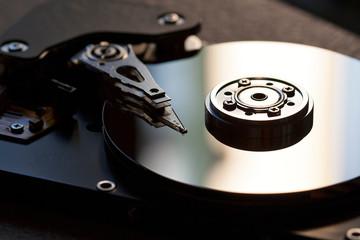 Fototapeta Detail of hard disk and writing read head obraz
