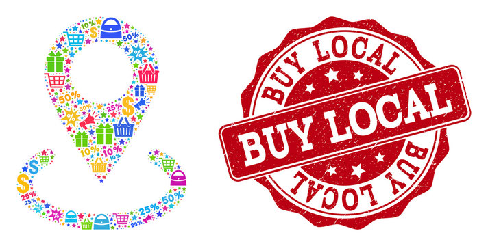 Trading collage of buy local marker mosaic and grunge stamp seal. Mosaic buy local marker collage is designed with colored shopping bags, carts, dollars, discount percents, gifts, announces.