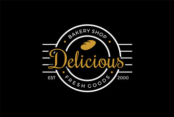 Badge delicious bakery logo design inspiration