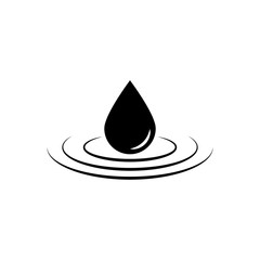 Black drop vector icon or rain icon isolated on white background