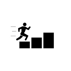 climbing up the stairs stickman figure person people human pictogram image vector icon