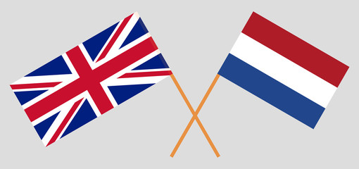 Netherlands and UK. The Netherlandish and British flags. Official proportion. Correct colors. Vector