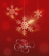 New Year gold glitter snowflake greeting card