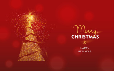 Wall Mural - Christmas and New Year gold glitter pine tree card